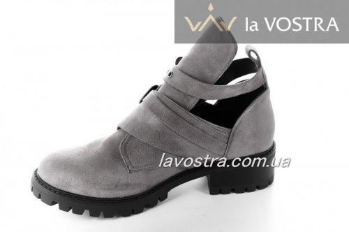 Ботинки женские Aotoria 2761 (весенне-осенние, серый, эко-замш)