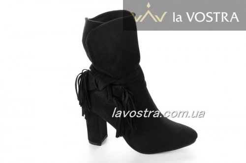 Ботинки женские Seastar 5362 (весенне-осенние, черный, эко-замш)