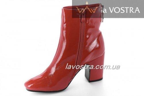Ботинки женские Seastar 6707 (весенне-осенние, красный, эко-лак)