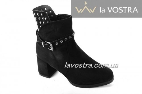 Ботинки женские Lilin shoes 5282 (зимние, черный, эко-замш)