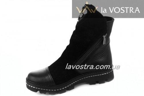 Ботинки женские Днепр 2201 (зимние, черный, замш)