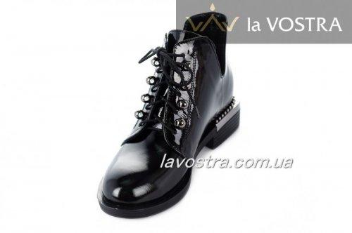 Ботинки женские Liliya 7084 (весенне-осенние, черный, лак)