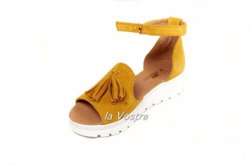 Босоножки женские Jasmine 0532жз (лето, желтый, замш)