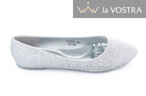 Балетки женские Bona 2295 (лето, серебро, эко-кожа (блески))