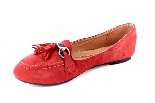 Балетки женские Comer 7107 (весна-лето-осень, красный, эко-кожа)