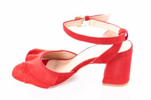 Босоножки женские Seastar 2563 (лето, красный, эко-замш)