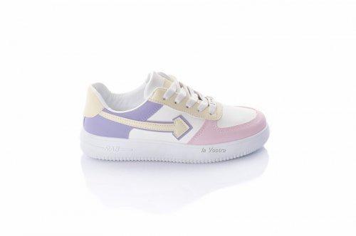 Кросівки жіночі L @ G 8095 (весняно-осінні, білий-кольоровий, еко-шкіра)