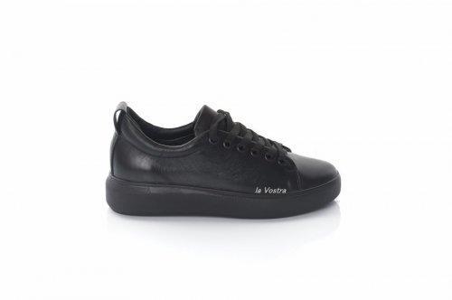 Кросівки жіночі 8096 (весняно-осінні, чорний, шкіра)