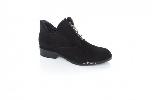 Ботинки женские Darini 7360 (весенне-осенние, черный, замш)