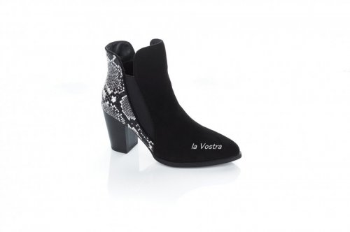 Ботинки женские Small Swan 7368 (весенне-осенние, черный, эко-замш)