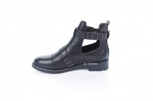 Ботинки женские Aotoria 7364 (весенне-осенние, черный, эко-кожа)