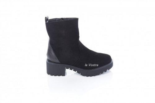 Ботинки женские Weide 7369 (весенне-осенние, черный, эко-замш)