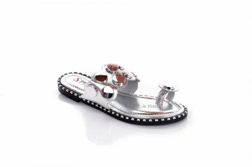 Шльопанці жіночі Seastar 7932 (літо, срібло, еко-шкіра)