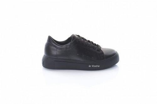 Кросівки жіночі Staturi 8087 (весна-літо-осінь, чорний, шкіра)