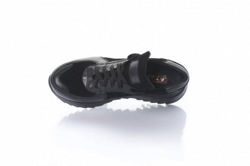 Кросівки жіночі Ladi 8084 (весняно-осінні, чорний, шкіра)