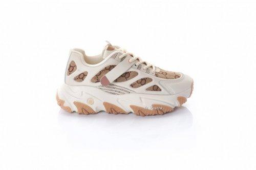 Кросівки жіночі Weide 8074 (весняно-осінні, бежевий, текстиль)