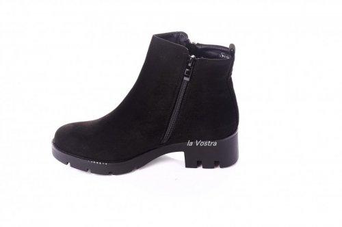 Ботинки женские Seastar 2814 (весенне-осенние, черный, эко-замш)