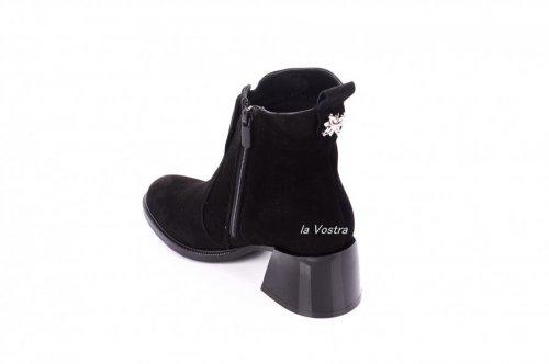 Ботинки женские Continent 7415 (весенне-осенние, черный, замш)