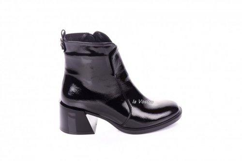 Ботинки женские Continent 7416 (весенне-осенние, черный, лак)