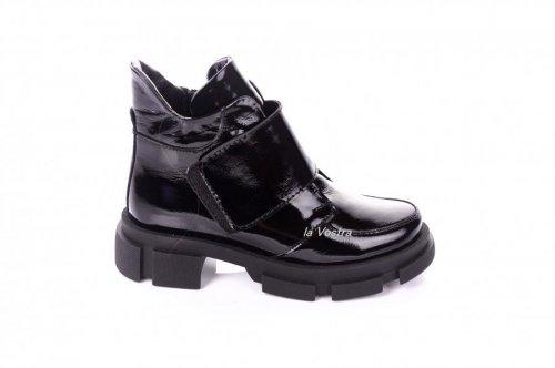 Ботинки женские Continent 7417 (весенне-осенние, черный, лак)