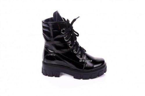 Ботинки женские Lady 7414 (зимние, черный, лак)