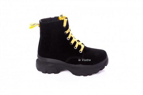 Ботинки женские Днепр 6891 (зимние, черный, замш)