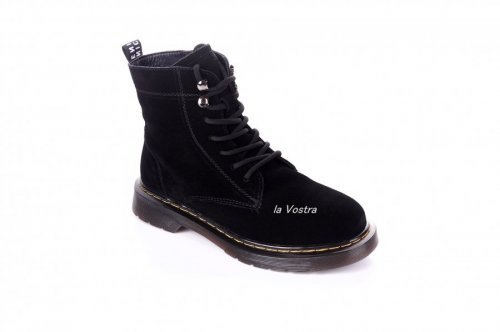 Ботинки женские ITTS 7421 (зимние, черный, эко-замш)