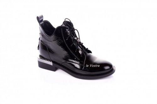 Ботинки женские Liliya 7374 (весенне-осенние, черный, наплак)