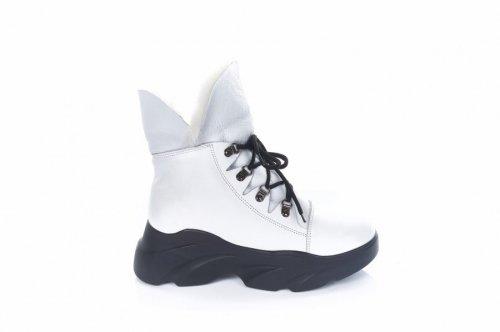 Ботинки женские G-style 6758 (зимние, белый, кожа)