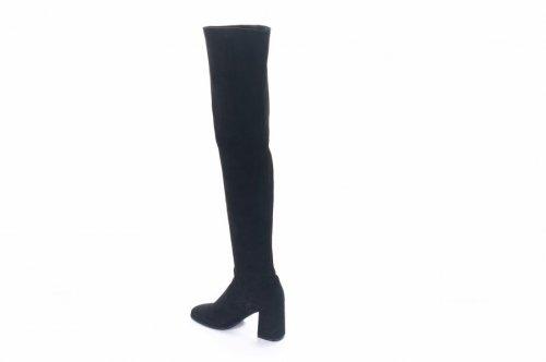Ботфорты женские Lirio 7080 (весенне-осенние, черный, велюр-стрейч)