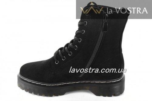 Ботинки женские Weide 6886 (зимние/европейка, черный, эко-замш)