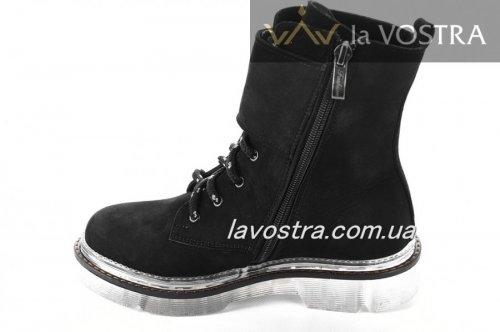 Ботинки женские Днепр 6790 (зимние, черный, нубук)