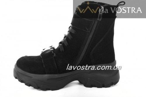 Ботинки женские Днепр 6906 (зимние, черный, замш)