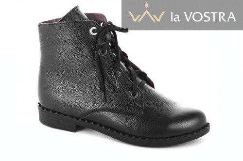 Ботинки женские Sezar 5556 (весенне-осенние, черный, кожа)