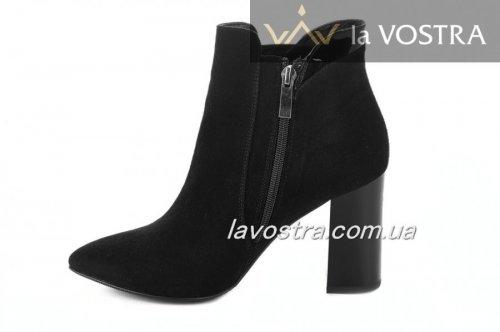 Ботинки женские Днепр 2730 (весенне-осенние, черный, замш)