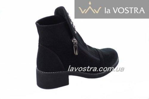 Ботинки женские Sezar 5517 (весенне-осенние, черный, замш)