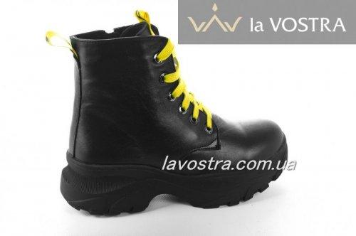 Ботинки женские Днепр 6796 (зимние, черный, кожа)