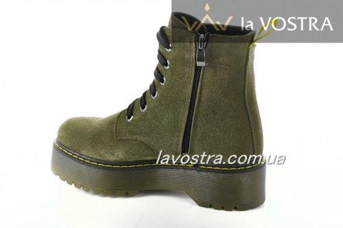 Ботинки женские Днепр 6802 (зимние, оливковый, замш)