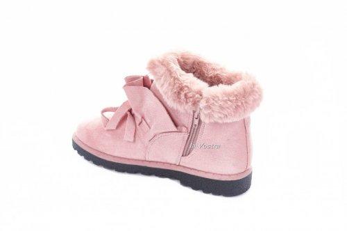 Ботинки женские Basida 2840 (зимние, розовый, эко-замш)