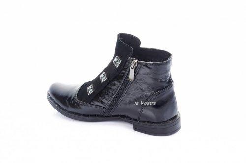 Ботинки женские Днепр 2728 (весенне-осенние, черный, кожа-лак)