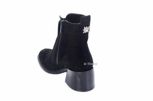 Ботинки женские  7452 (зимние, черный, замш)