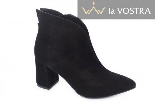 Ботинки женские Style-N 7001 (весенне-осенние, черный, замш)