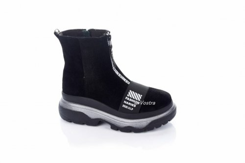 Ботинки женские Днепр 6826 (зимние, черный, замш)