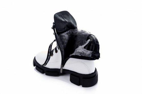 Ботинки женские  7437 (зимние, белый, кожа)