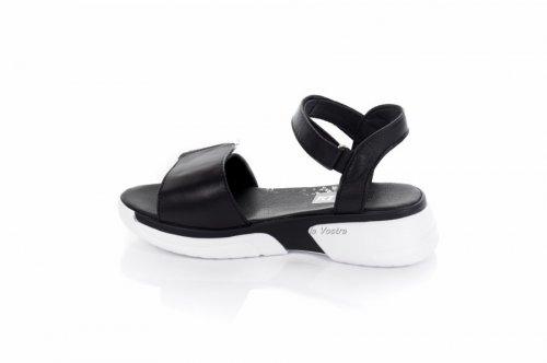 Босоножки женские Ladi 7857 (лето, черный-белый, кожа)