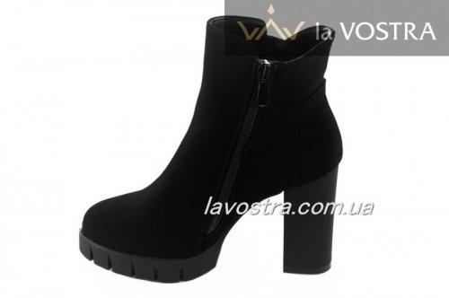 Ботинки женские S.S 7025 (весенне-осенние, черный, эко-замш)