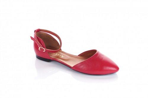 Балетки женские  5916 (лето, красный, кожа)