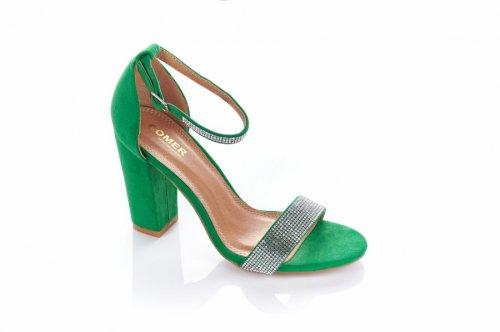 Босоніжки жіночі COMER 5927 (весна-літо-осінь, зелений, еко-замш)