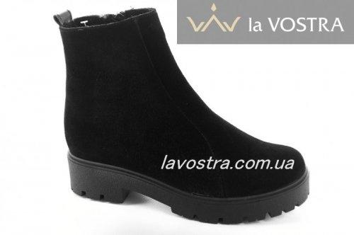 Ботинки женские Devis 6807 (зимние, черный, замш)