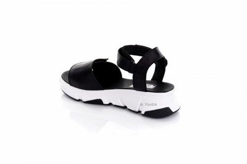 Босоножки женские Ladi 7921 (лето, черный-белый, кожа)